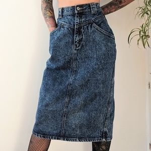Vintage high waisted denim pencil skirt